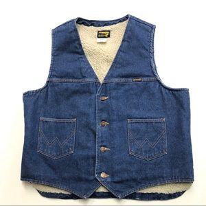 Wranglers Sherpa Lined Vest USA Made Vintage XL